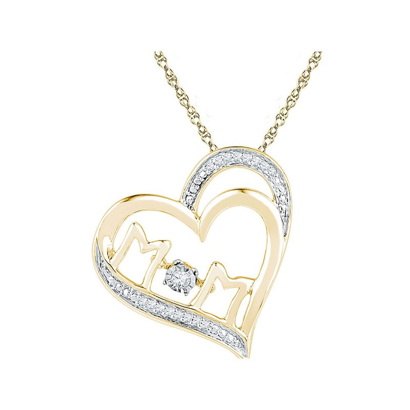 Gold-N-Diamonds, Inc. (Atlanta) 10kt Yellow Gold Womens Round Diamond Moving Twinkle Mom Heart Pendant 1/20 Cttw