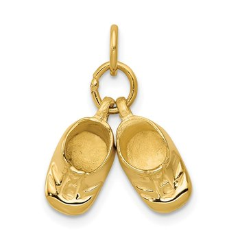 14k 3D Moveable Polished Baby Shoes Charm