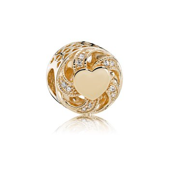 Ribbon Heart Charm, 14K Gold Clear Cz