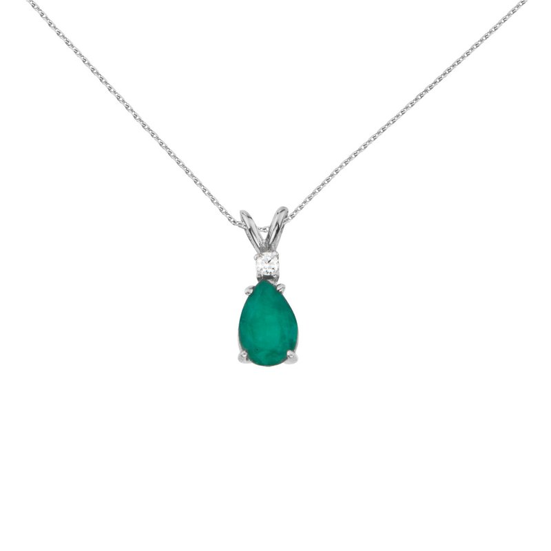 14k White Gold  Pear Shaped Emerald and Diamond Oval Pendant
