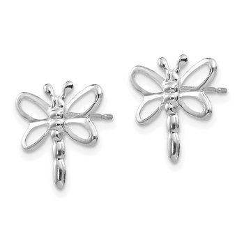 14k White Gold Madi K Polished Dragonfly Earrings