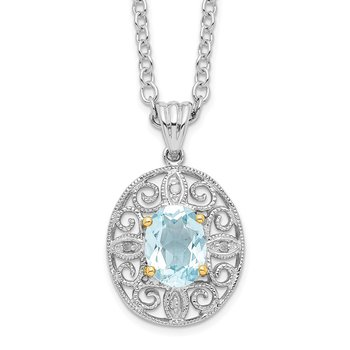 SS & 14k True Two-tone Sky Blue Topaz & Diamond Necklace
