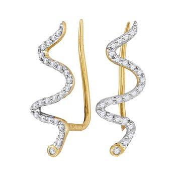 10kt Yellow Gold Womens Round Diamond Snake Climber Earrings 1/6 Cttw
