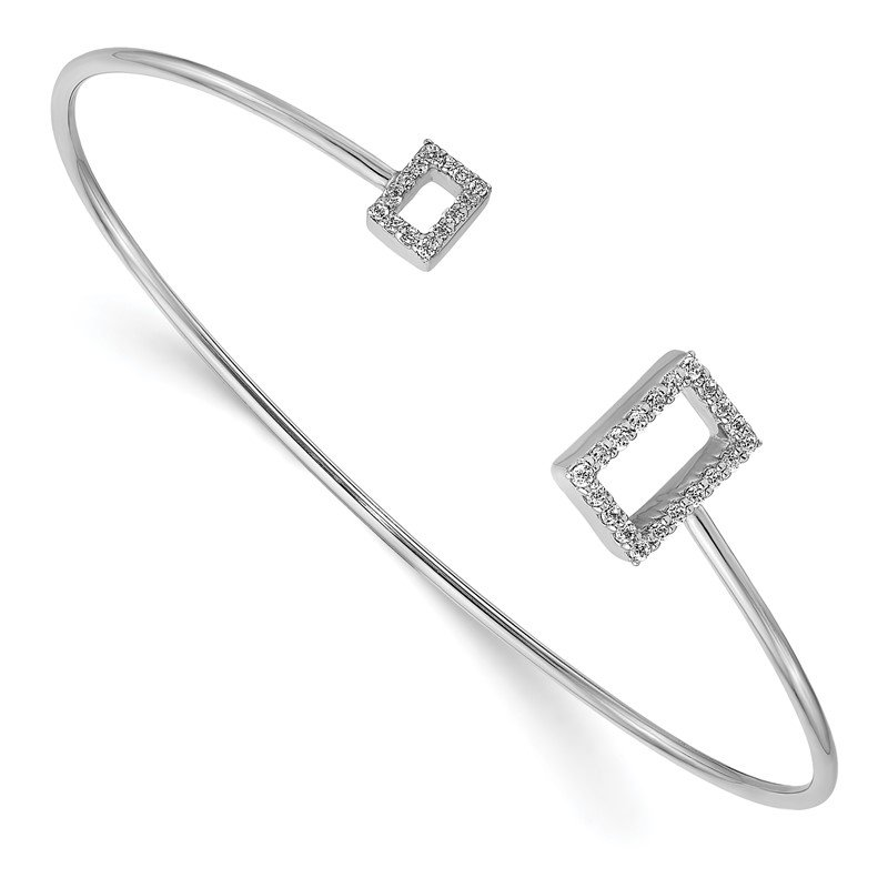 Quality Gold 14k White Gold Diamond Squares Flexible Cuff Bangle