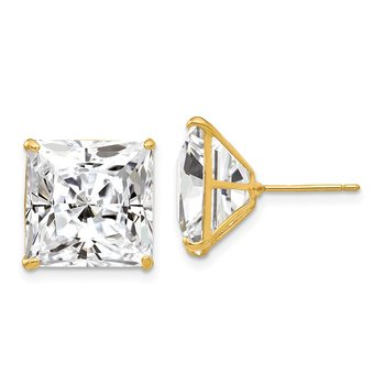 14k 12mm Square CZ Post Earrings