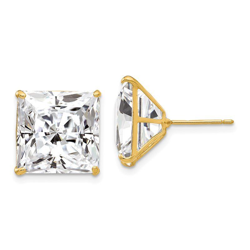 Quality Gold 14k 12mm Square CZ Post Earrings