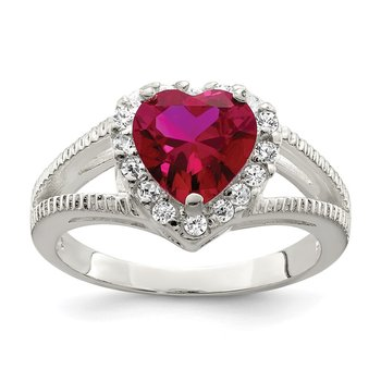 Sterling Silver Red CZ Heart Ring