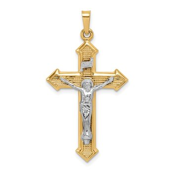14k Two-tone Polished and Textured INRI Crucifix Pendant