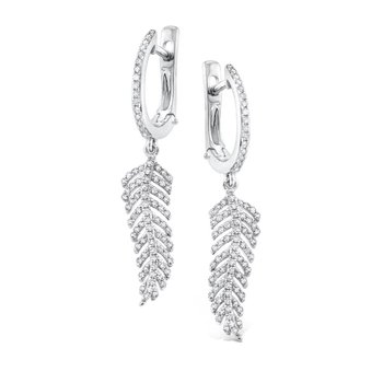 Diamond Feather Earrings in 14K White Gold with 168 Diamonds weighing .52ct tw.