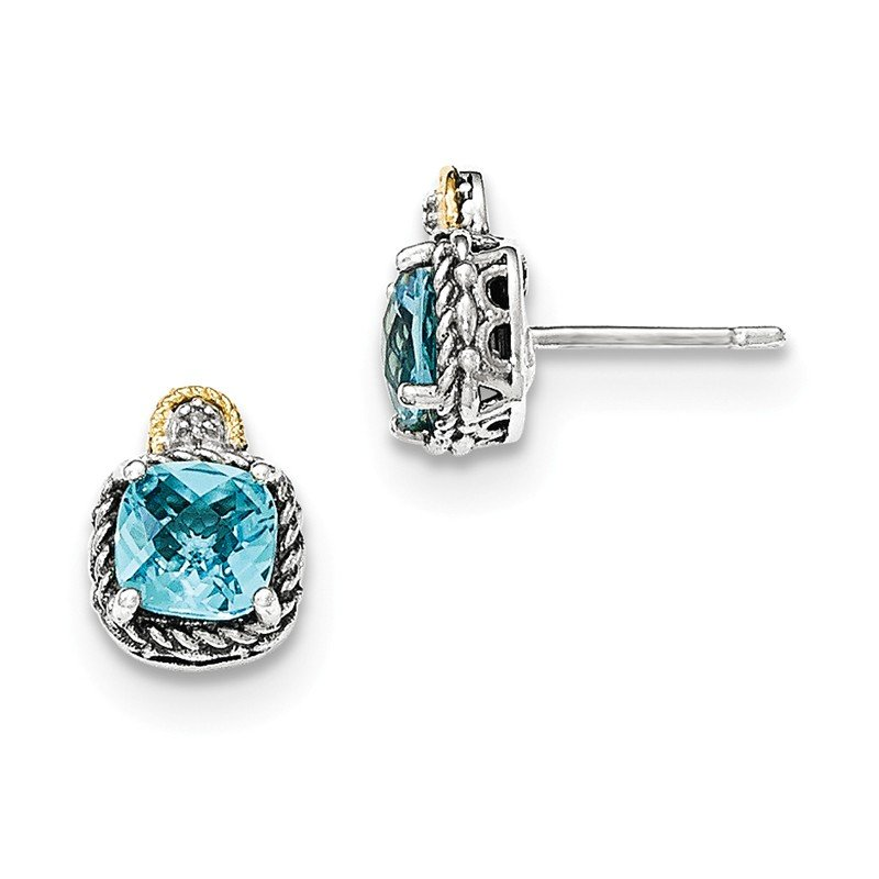 Shey Couture Sterling Silver w/14k Lt Swiss Blue Topaz & Diamond Post Earrings