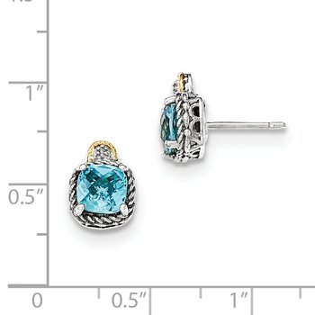 Sterling Silver w/14k Lt Swiss Blue Topaz & Diamond Post Earrings