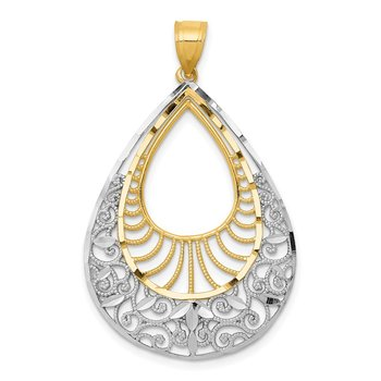 14k w/Rhodium Diamond-cut Filigree Teardrop Pendant