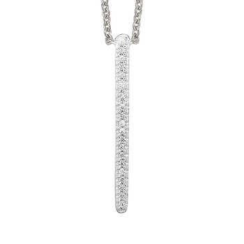 Diamond Modern Linear Pendant Necklace in White Gold (1/20ctw)