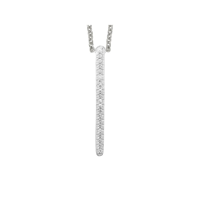 Gems One Diamond Modern Linear Pendant Necklace in White Gold (1/20ctw)