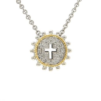 18kt and Sterling Silver Cross Necklace
