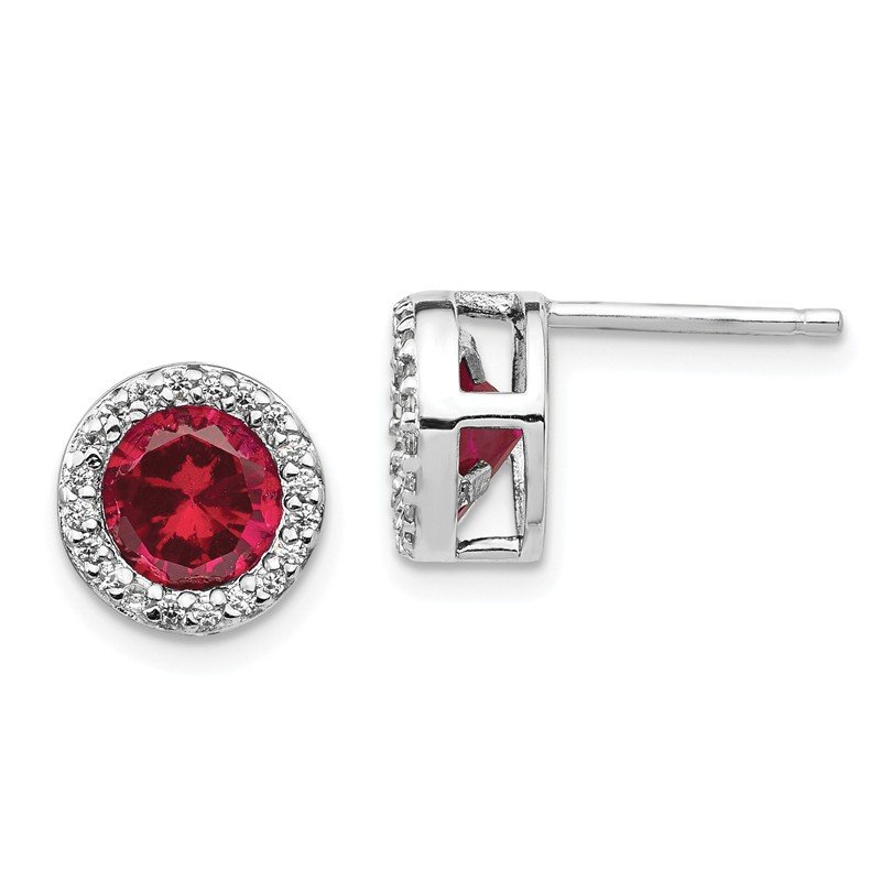Cheryl M Cheryl M Sterling Silver Lab created Ruby & CZ Post Earrings