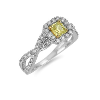14K WY Diamond Prong Set Octagon Halo Ring in C