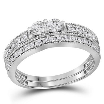14kt White Gold Womens Round Diamond 2-Stone Bridal Wedding Engagement Ring Band Set 3/4 Cttw