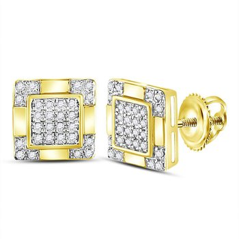 14kt Yellow Gold Mens Round Diamond Square Cluster Stud Earrings 1/6 Cttw