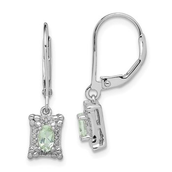 Sterling Silver Rhodium-plated Green Quartz Diamond Earrings