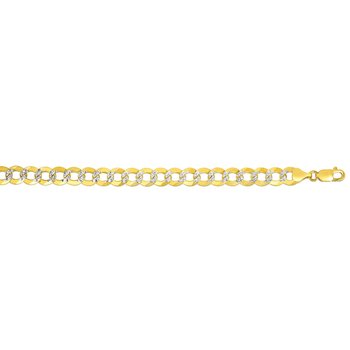 14K Gold 9.7mm White Pave Curb Chain