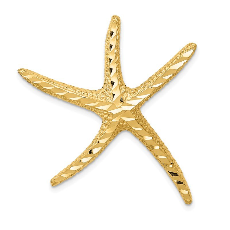 Quality Gold 14k Textured Diamond-cut Starfish Slide