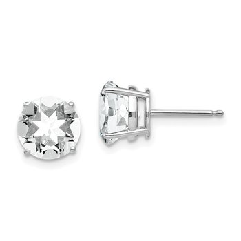 14k White Gold 8mm Cubic Zirconia Earrings