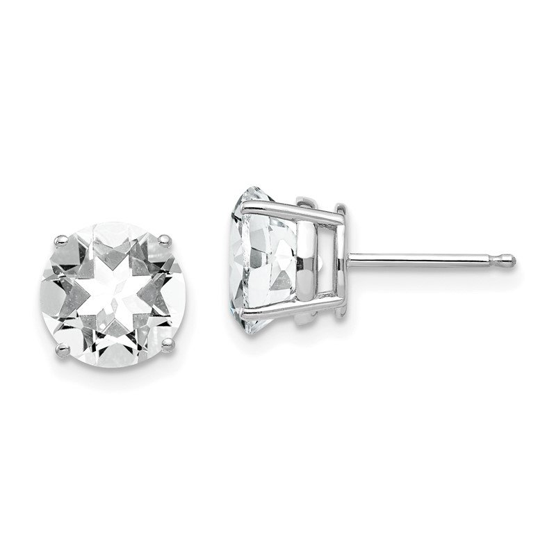 Quality Gold 14k White Gold 8mm Cubic Zirconia Earrings