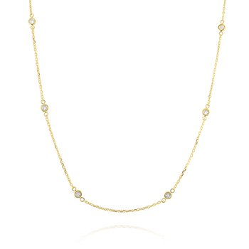 Diamonds By The Yard Necklace Set in 14 Kt. Gold