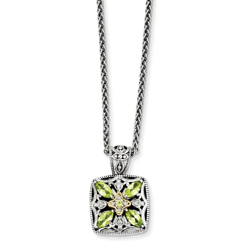 Shey Couture Sterling Silver w/14k Diamond & Peridot Necklace