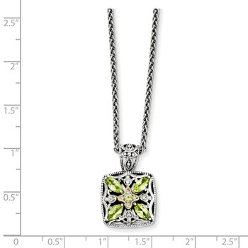 Sterling Silver w/14k Diamond & Peridot Necklace