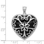 J.F. Kruse Signature Collection Sterling Silver Rhodium-plated Onyx Heart Pendant