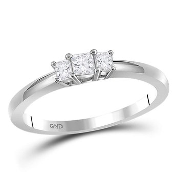 14kt White Gold Womens Princess Diamond 3-stone Bridal Wedding Engagement Ring 1/4 Cttw