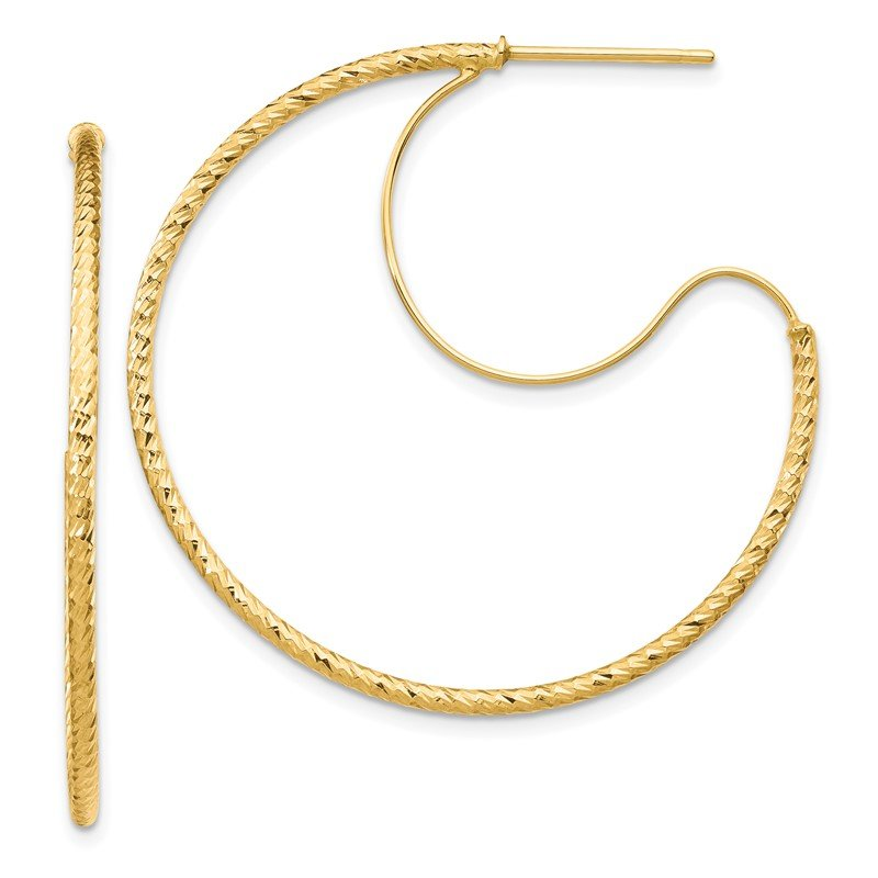 Quality Gold 14K 1.5x35mm D/C with Polished wire Hoop Earrings