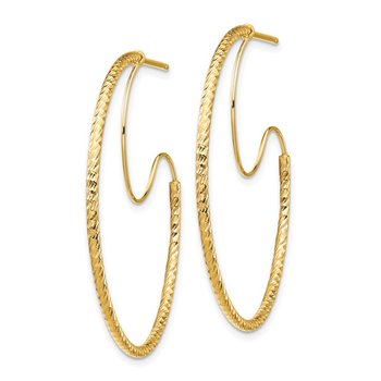 14K 1.5x35mm D/C with Polished wire Hoop Earrings