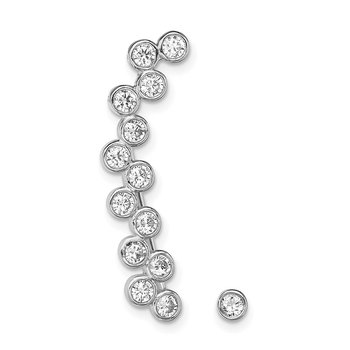 Sterling Silver Rhodium-plated CZ 1 Ear Climber and 1 Stud Earring