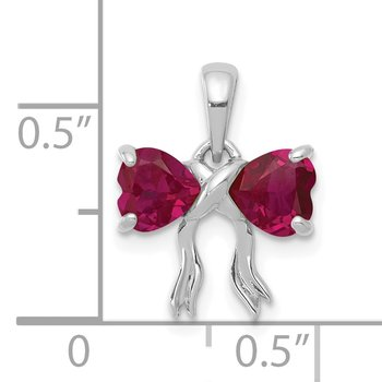 14k White Gold Polished Created Ruby Bow Pendant