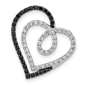 14k White Gold Black and White Diamond Entwined Heart Pendant