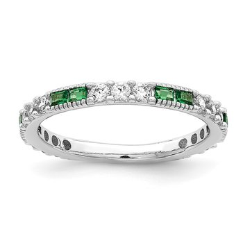 Sterling Silver Rhodium-plated Synthetic Green Spinel & CZ Band