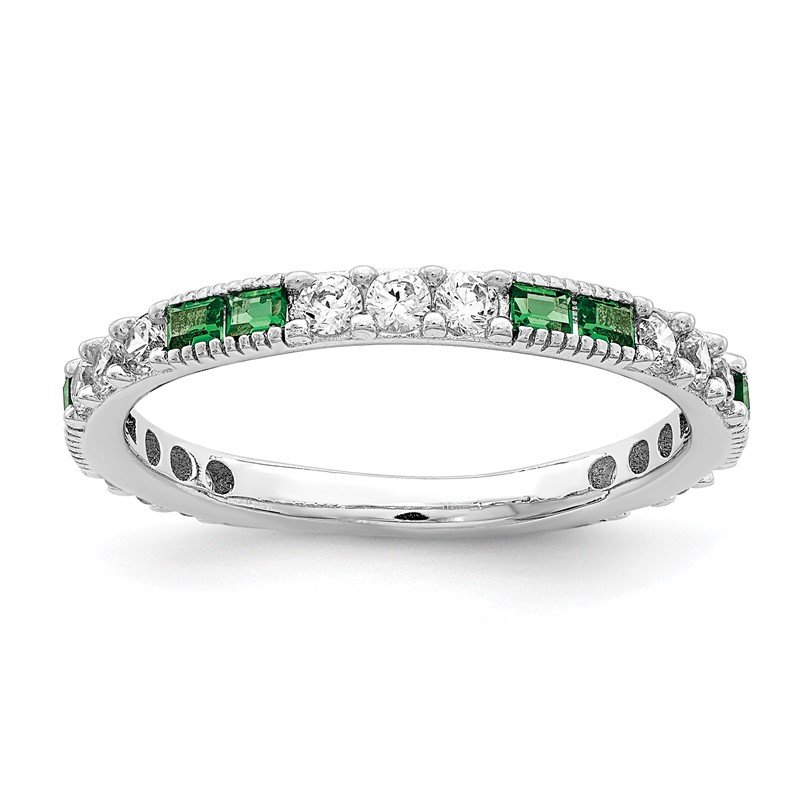 Quality Gold Sterling Silver Rhodium-plated Synthetic Green Spinel & CZ Band