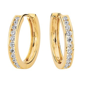 Channel set Diamond Hoops in 14k Yellow Gold (1 ct. tw.) GH/SI1-SI2