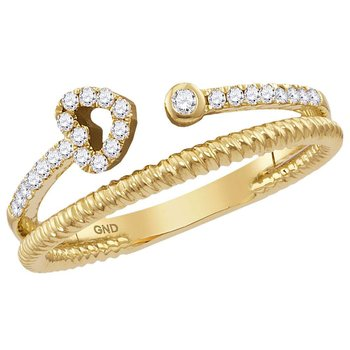 10kt Yellow Gold Womens Round Diamond Heart Bisected Stackable Band Ring 1/6 Cttw