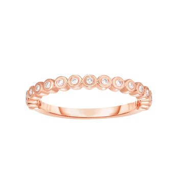 14K Gold .15ct Diamond Bezel Set Stackable Ring