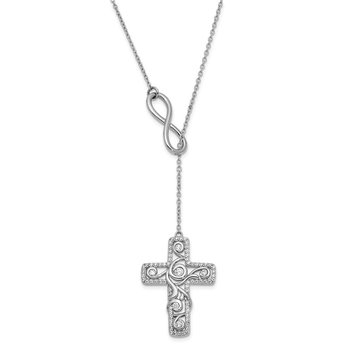 Sterling Silver CZ Eternity Lariat 17.5in. Necklace w/ 3/4in. ext