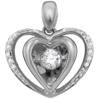 10kt White Gold Womens Round Moving Twinkle Diamond Heart Pendant 1/6 Cttw
