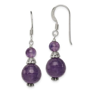 Sterling Silver Amethyst Antiqued Earrings