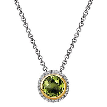 Diamond and Peridot Halo Pendant