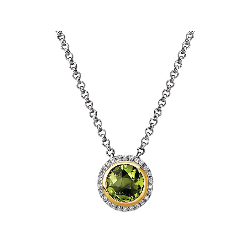 Eleganza Diamond and Peridot Halo Pendant