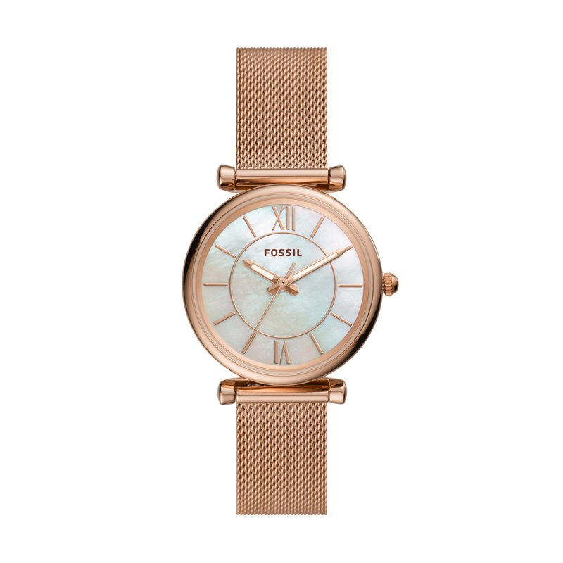 Fossil Carlie Three-Hand Rose Gold-Tone Stainless Steel Watch