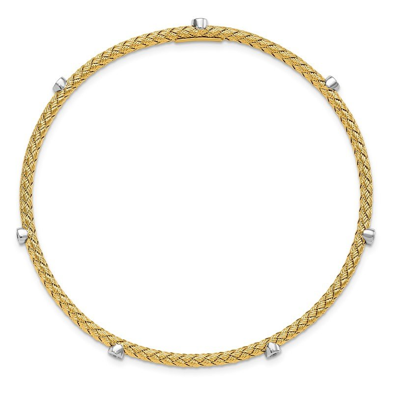 Leslie's Italian Gold Leslie's Sterling Silver Gold-plated CZ Polished Textured Bangle